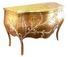 Art. 1603 Jasmine, Commode classique, finition feuille d'or, pour les suites de l'hôtel