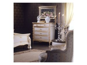 Art. 2001 chest of drawers, Commode de style, finition blanc sur la feuille d'or, pour les villas de luxe