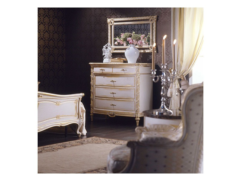 Art. 2001 chest of drawers, Commode de style, finition blanc sur la feuille d'or, pour les villas de luxe
