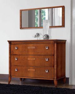 Vivre commode Art. 301, Noyer comode 3 tiroirs, avec dessus de marbre
