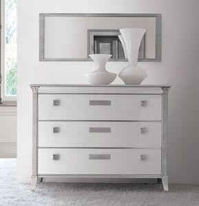 Art. 309 Vivre commode, Comode luxe classique, laqué blanc brillant