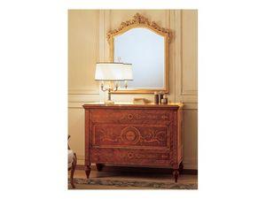 Art. 925 chest of drawers '700 Italiano Maggiolini, Buffet sculpté à la main, avec des tiroirs marquetés, avec un style classique