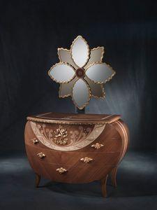 CO18 Vanity commode, Commode avec miroir, noyer, d�corations de feuilles d'or et de cuivre
