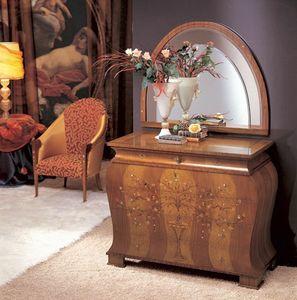 CO05 Floreale commode, Dresser en bois courbe solide, incrust� dans divers mat�riaux