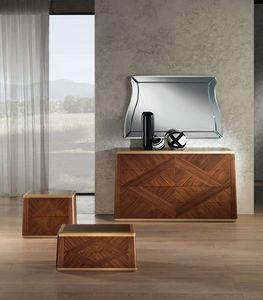 CO22 Commode Contemporary, Noyer commode pour les chambres classiques