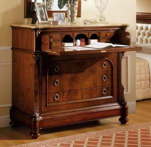 D'Este commode, Dresser en noyer avec finition luxueuse chambre classique