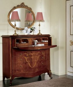 Orchidea ribalta, Commode avec rabat, incrust� richement, d�corations or