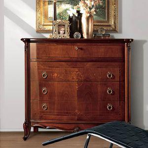 Parigi commode, Luxe comode classique de 4 tiroirs, des sculptures faites � la main