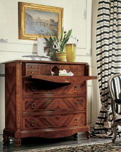 Settecento porte � abattant, Poitrine de tiroir avec porte � abattant, en bois sculpt� et incrust� de noyer