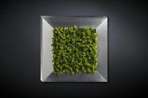 New Eucalyptus, Panneau décoratif en métal avec fleurs artificielles