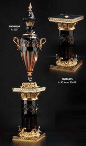 COLONNES ET PIEDS, Colonnes décoratives en cristal et bronze