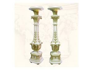 Columns art. 314, Colonnes en bois sculpté à la main, finitions en ivoire et or
