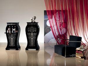 MB21 Iris mauresque, Mobile en bois noirci, classique, pour Hôtel