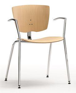 VEKTA 101, Chaise empilable en métal chromé et hêtre