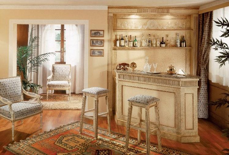 Collezione Ginevra, Meubles sur mesure pour la zone de bar, laqué craquelé boiserie