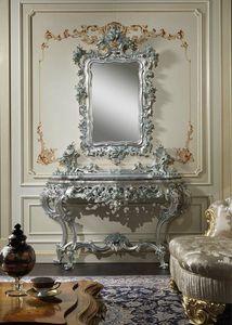 Art. 770 console baroque, Console avec sculptures faites main, combiné avec miroir