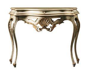 Beatrice FA.0023, Console baroque avec un tiroir, décorations florales, pour les environnements de style classique
