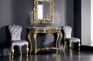 Boemia console, Table console en bois sculpté avec dessus en marbre