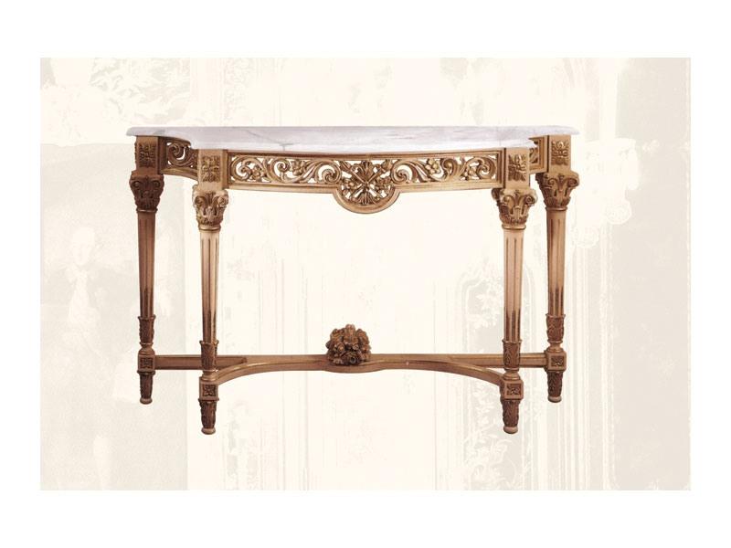 Console art. 217/b, Consolle faite de bois de tilleul avec plateau en marbre