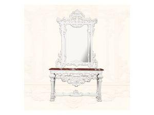 Console art. 226/a, Consolle en bois laqué blanc, plateau en marbre rouge