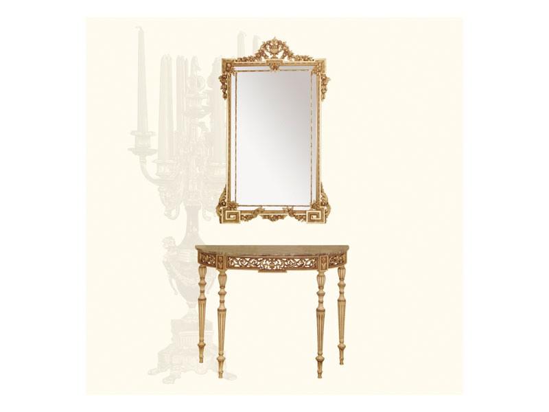 Console art. 237, Table d'appoint faite de la main en bois sculpté, style Louis XVI