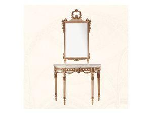 Console art. 238, Table d'appoint en bois orné de fleurs, Style Louis XVI