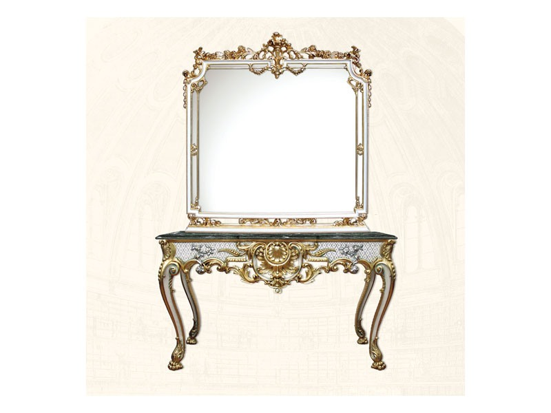 Console art. 254, Table de luxe avec finitions blanches en feuille d'or
