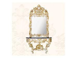 Console art. 257, Console en bois avec plateau en marbre noir, le style Rococo