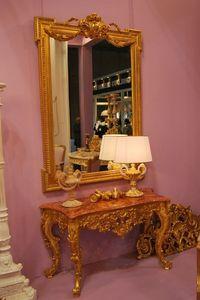 CONSOLE ART. CL 0004, Console en bois sculpté et décoré à la main, dans le style de Louis XVI