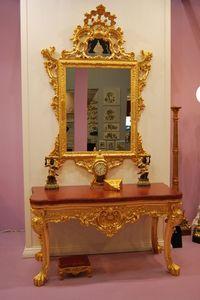 CONSOLE + MIROIR ART. CL0013+CR 0058, Console 4 pieds en bois sculpté avec dessus en marbre