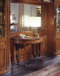 D 407, Table console classique, en bois de cerisier incrusté