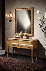 Doroty Console, Table console en bois avec tiroirs