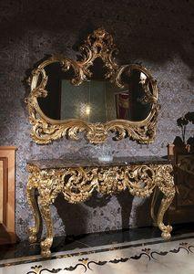 F105, Table Consolle avec dessus en marbre et miroir d'or