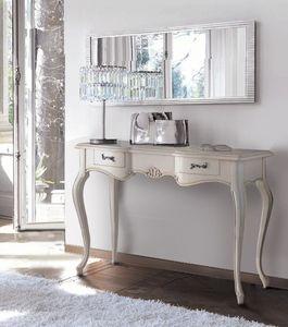 Firenze console, Console classique en bois laqué, avec 3 tiroirs