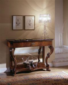 M 405, Walnut console, avec miroir antique, plateau de marbre
