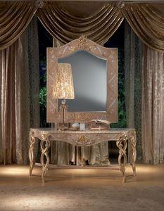 MB44 Vanity, Console en bois, décorations de feuilles d'or, style classique