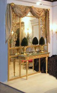 PANNEAU DE BOISERIE ART. BS 0002 + CL 0009, Boiserie volet avec la console, en bois et miroirs dorés