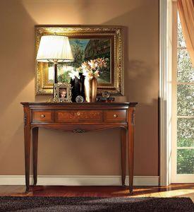 Praga Consolle, Table d'appoint en bois, sculpté à la main, style classique de luxe