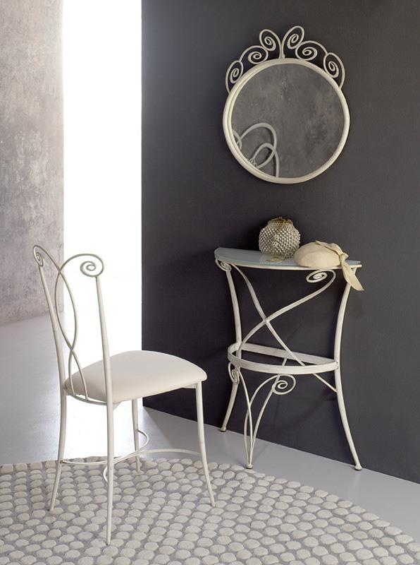 Consolle Klimt, Petite console, forme incurvée, métallique conique