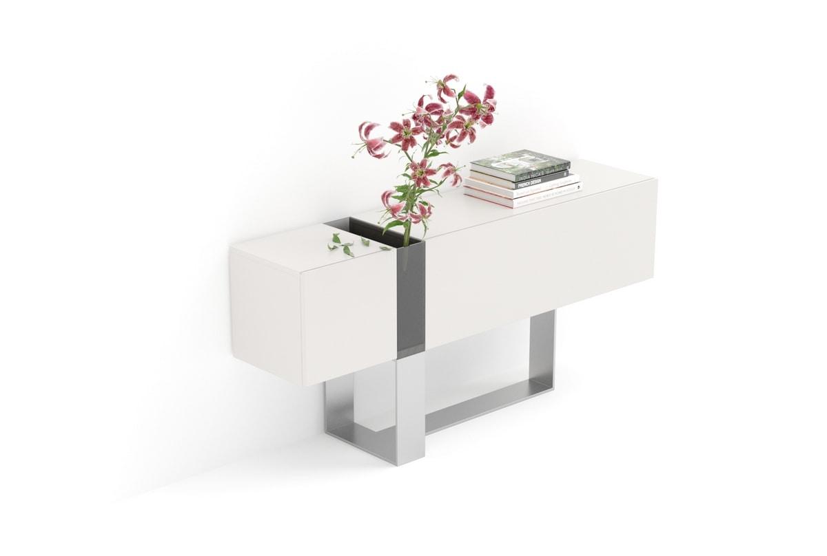 FLÒ comp.01, Console pour les entrées avec vase en cristal, pour les villas