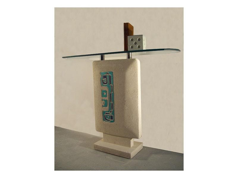 Settanta console, Consolle pour les entrées, la base en pierre et le dessus en verre