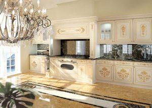 KT201, Blanc laqué cuisine de luxe classique avec des décorations d'or