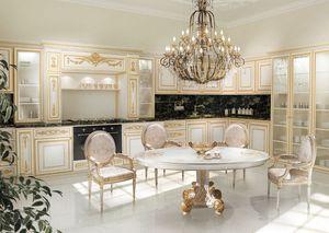 KT262, Cuisine en blanc et or peint, dessus en marbre noir