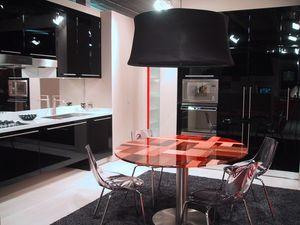 BLACK, Cuisine sophistiquée avec des meubles suspendus, en différentes couleurs