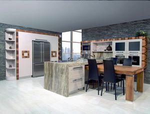 Nàscira cuisine 100, Cuisine avec péninsule, avec dessus en marbre, laque brillante gris tourterelle