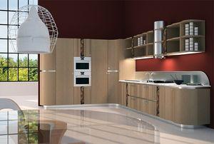 CUC01 Mistral, Cuisine fonctionnelle et élégante, avec du bois et du métal incrusté