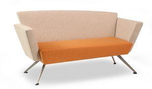 CORNER C2DB, Sofa de bureau, carré, rembourré, avec pieds en métal