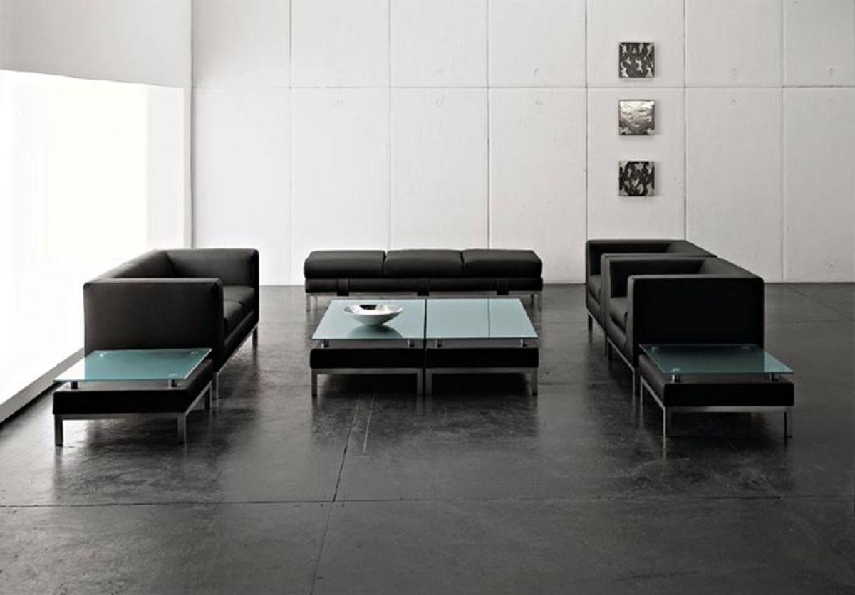 CUBE, Linear canapé 2 places avec pieds en métal, pour les bureaux