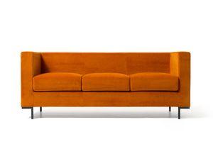 Hall 3p, Canapé pour les zones de salons modernes, avec des pieds en aluminium