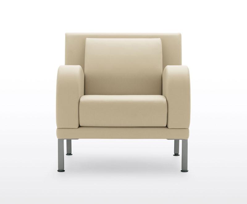 Kristall, Canapé 3 places avec pieds en acier, pour les zones d'attente